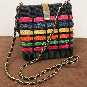 Woven multi color stripe purse with chain strap